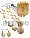 Natural 10 PCS. 35MM ROUND MOP SHELLS & 1PC. 50MM ROUND MOP SHELL CENTER ACCENT IN SATIN DOUBLE CORD / 40 IN. W/ SET EARRINGS AND ELASTIC BANGLE Set Jewelry Wooden Accessory Shell Products Cebu Crafts Cebu Jewelry Products