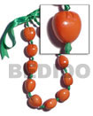 kukui seed nut necklace wood beads wooden imitation