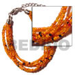 Cebu Island 6 Rows Orange Multi Glass Beads Bracelets Philippines Natural Handmade Products