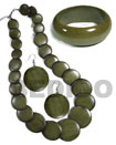 Stained Green Wood Jewelry Set